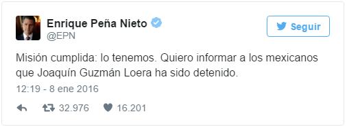 Peña Nieto confirma el arresto de 'El Chapo' Guzmán
