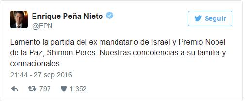 Peña Nieto asistirá a funeral de Shimon Peres