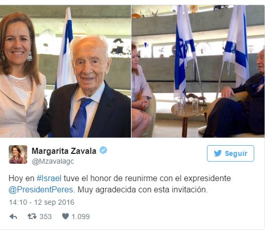 Margarita Zavala se reunió con Shimon Peres en su visita a Israel.