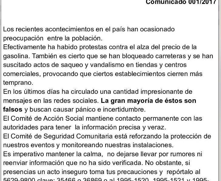 Ante los acontecimientos en México Comunicado Comité Central