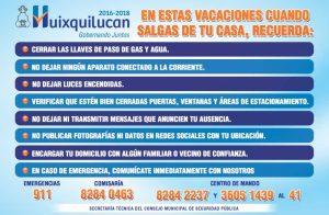 El gobierno de Huixquilucan te invita a tomar tus precauciones para estas vacaciones.