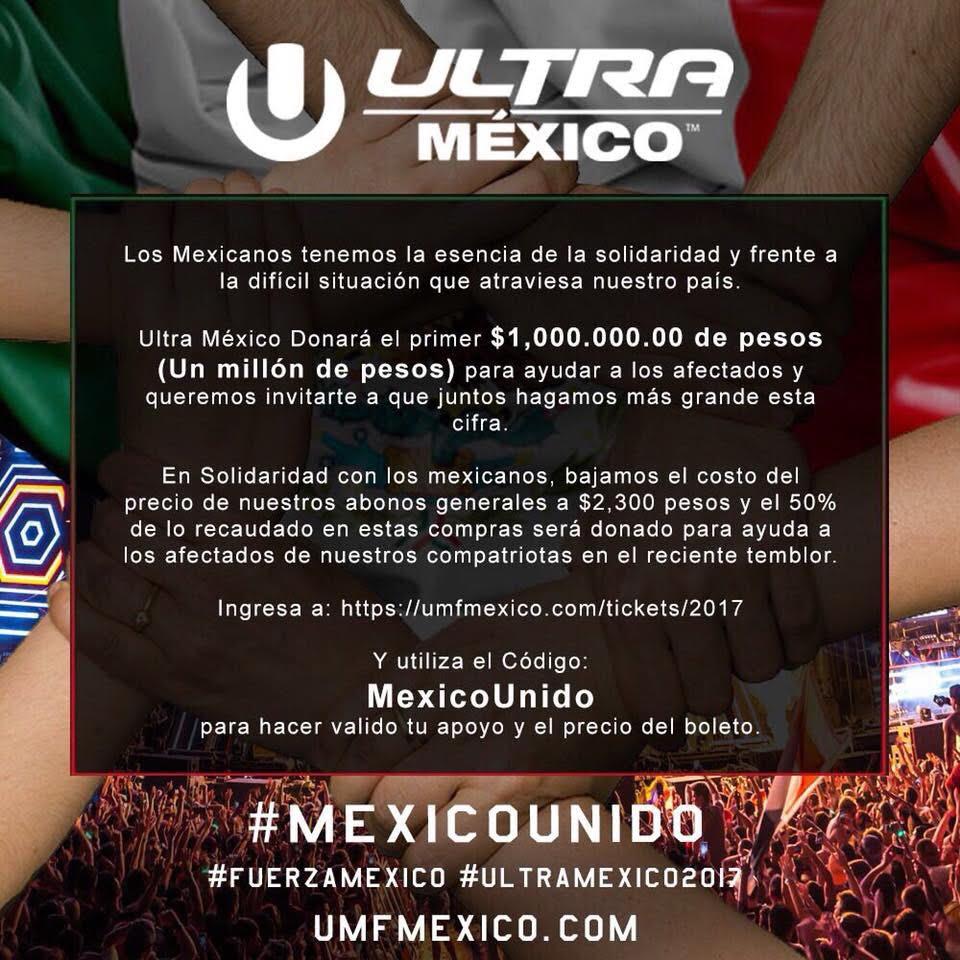 ultra mexico Donara 1,000,000 + lo que se acumule a los afectados por el terremoto