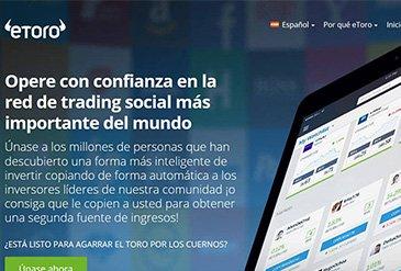 Web de eToro para invertir en CFDs